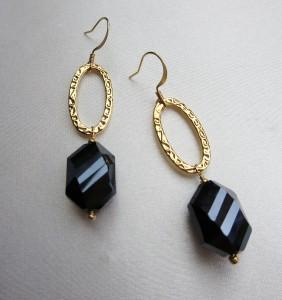 Black cut glass earrings