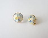 yellow blue shell earrings